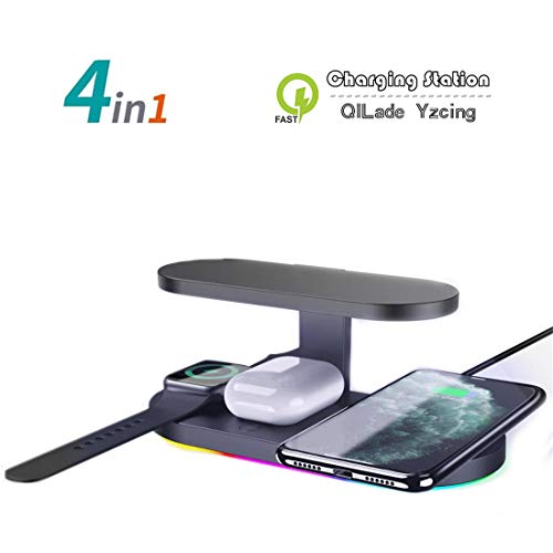 UV-Ladegerät Telefonreiniger, Smartphone-Reinigungs-Multifunktionsbox, 4-in-1-QI-Ladestation für kabellose Telefone, kompatibel mit iPhone 11 Pro Max X Xs XR 8 Apple iwatch 5 4 3 Airpods Pro