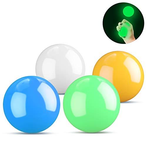 Kelisidunaec Fluoreszierende Klebrige Wand Ball, 4 Farbe klebriger Zielball, Anti Stress Reliever Balls kann an die Decke geklebt Werden, Stressabbau Wandkugeln Dekompressions für Erwachsene Kinder