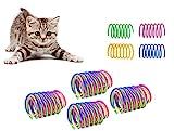 Dweyka 20 Piezas Juguete para Gato Resortes,Muelle Colorido Juguete, Muelles en Espiral de Plástico...