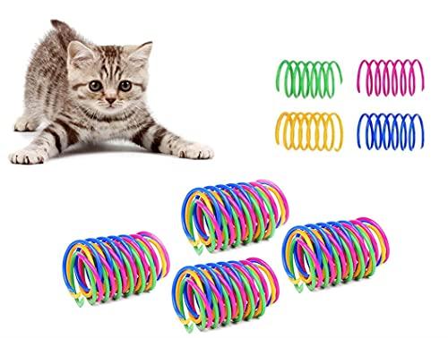 Dweyka 20 Piezas Juguete para Gato Resortes,Muelle Colorido Juguete, Muelles en Espiral de Plástico para Gatos Gatito Mascotas Regalo de Novedad