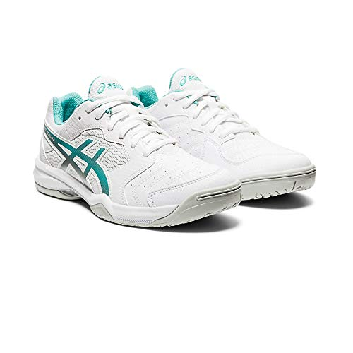 ASICS Gel-Dedicate 6, Zapatos de Tenis Mujer, Blanco White Techno Cyan, 39 EU