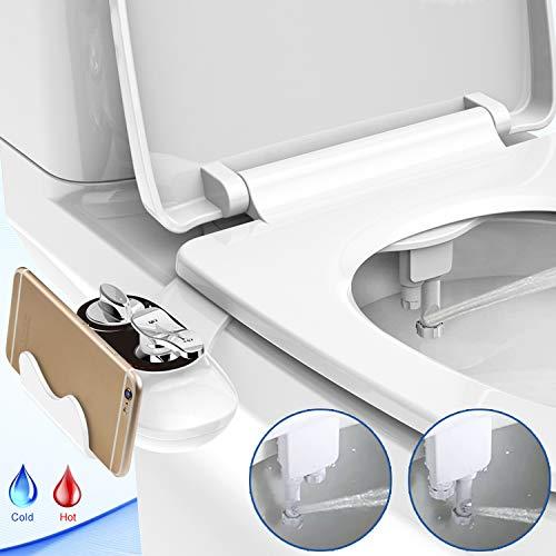 Bidet,Bidet Einsatz für Toilette,WC Bidet für Intimpflege mit Handy Ständer Reinigungsfunktion Dusch-WC Intimreinigung mit Selbstreinigende Düse Wasserstrahl regulierbar Wassersparende