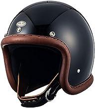 TT&CO. スーパーマグナム ヴィンテージレザートリム ブラウンレザー ブラック ジェットヘルメット