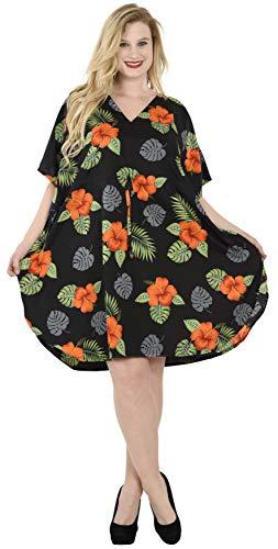 LA LEELA Femme Mini Robes de Plage Tunique Kimono Bohême Mode Bikini Cover Up Blouse One Size Convient à Noir_V614 FR Taille : De 42 (L) À - 56 (3XL)