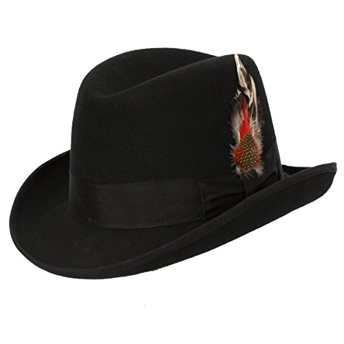 9th Street Hats 'Charles' Firm Felt Homburg Godfather Hat 100% Wool (Black, Large)