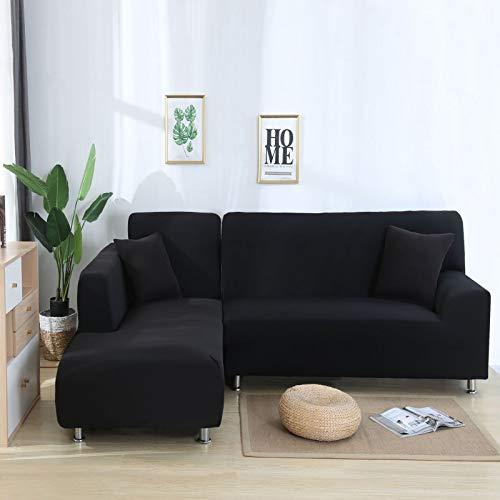 Impresión de la Cubierta del sofá Fundas de sofá elásticas Fundas de sofá para Sala de Estar Sofá de Esquina Toalla Funda de sofá Funda de Muebles Negro 90-140CM