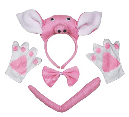 petitebelle 3D Pink Pig Bandeau Noeud Papillon Queue Gants Lot de 4 enfants Costume Party - rose - Taille Unique
