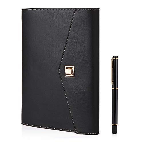 Cuaderno de piel A5 BESTOO Recargable Hojas Sueltas para Negocios Conferencias Viajes Libreta Cuaderno de 100 Páginas de Grosor(Negro-2)