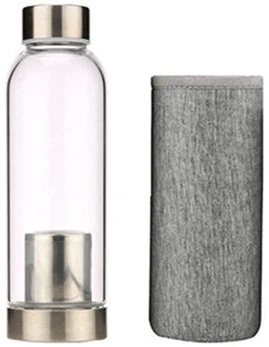 YLJYJ Botella de té con filtro de vidrio transparente portátil de 400 ml con tapa, taza de té creativa de flores con cesta de filtro de acero inoxidable, té (maceta de interior)