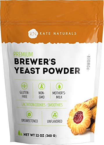 Brewer's Yeast Powder - Kate Naturals. Perfect for Lactation Cookies, Breastfeeding Supplement to Boost Mother's Milk. Gluten-Free & Non-GMO. Large Resealable Bag (12oz)