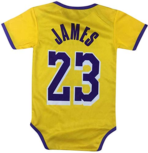 James Basketball Baby Romper Jersey Lebron Infant Toddler Onesies Home/Away Jersey Design Bundle Premium Quality (3-6 mo, Yellow Pack of 1)