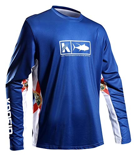 Performance Fishing Shirt Vented Long Sleeve Shirt Sun Protection UPF50 Moisture Wicking Rash Guard with Mesh Sides Loose Fit, Navy,Large