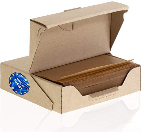ZeZaZu Ungebleichtes Pergamentpapier Quadrate 14 x 14 cm (500 Blatt) – zum Backen, Hamburger, Diamantmalerei, Basteln, doppelseitige Beschichtung, silikonisiert,praktische Spenderbox