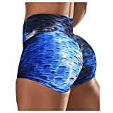 CXDS Short de sport pour femme avec poche contrôle du ventre taille moyenne L Bleu 3