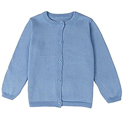FAIRYRAIN FAIRYRAIN Baby Mädchen Kinder Einfarbig Basic Strickjacke Strickpullover Jacket Langarm Cardigan Pullover 4-5 Jahre Blau