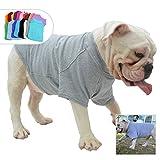 lovelonglong Bulldog Ropa Perro Ropa en Blanco Camiseta Camisetas para Bulldog Francés Inglés Bulldog American Pit Bull Pugs 100% Algodón Cuidado de la Piel Gris B-M