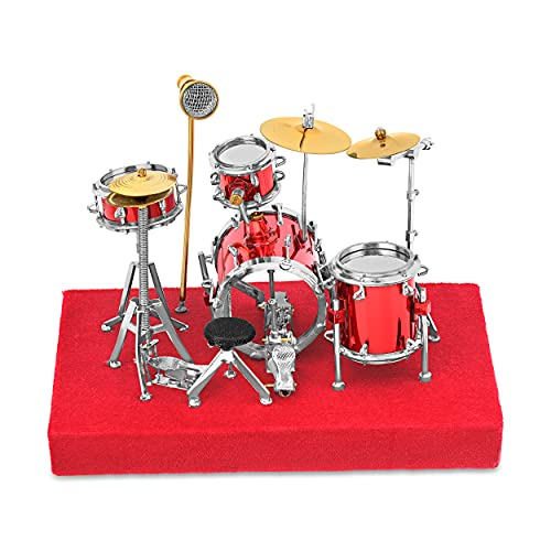 3. Red Drum Set Music Instrument Miniature Replica on Stand