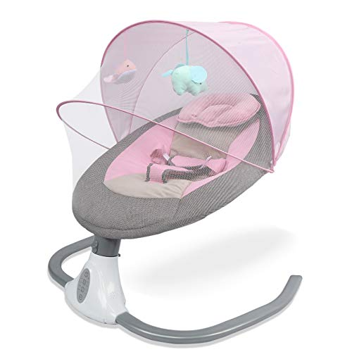 Baby Swings Portable Automatic Baby Swings for Infants 4-speed Adjustable Safe Soothing for Baby with Music Box Detachable Washable Mattress Breathable Mesh and Seat Belt for Infants 0-12 Months Girls