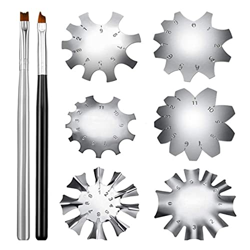 6 herramientas de corte de línea de sonrisa francesa con 2 cepillos de punta francesa, plantillas de corte de uñas de acero inoxidable para manicura y bordes para bricolaje acrílico arte (plateado)