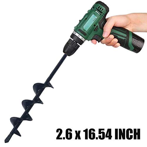 igingko Post Hole Diggers Auger Drill Bit, Totally Solid Steel Barrel Post Hole Auger for Planting Bulb Seedling & Bedding, 3/8' Hex Drive (2.6 x 16.54 inch)