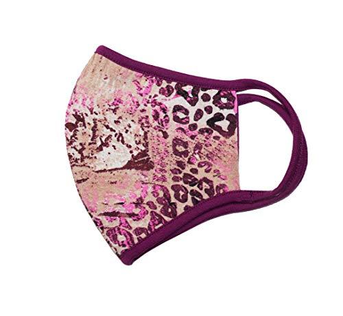 Weri Speciaal gezichtsmasker mondmasker, bandana, multifunctionele doek, stofmasker – mond, adem, stof, lucht, gezichtsdoek, mond- en neusmasker Voor wandelen, sport en vrije tijd. Medium Roze luipaard.