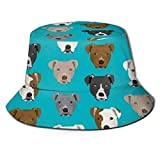 Pitbull Dog Pattern Summer Fisherman Hat, Unisex Fashion Print Bucket Hat Sun Hat Travel Outdoor Beach Sun Hat Black