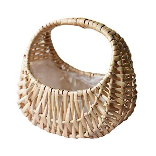 Househome - Cesta colgante de mimbre, hecha a mano, cesta de almacenamiento...