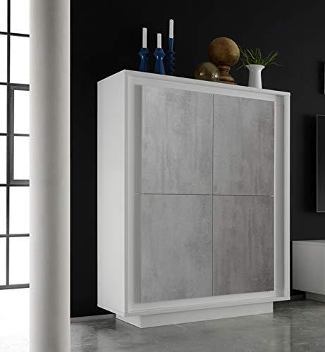 arredocasagmb.it Mobile Contenitore credenza Alta 4 Ante Moderno Bianco Opaco Anta Cemento Soggiorno Madia Buffet con sportelli Design Shy 04
