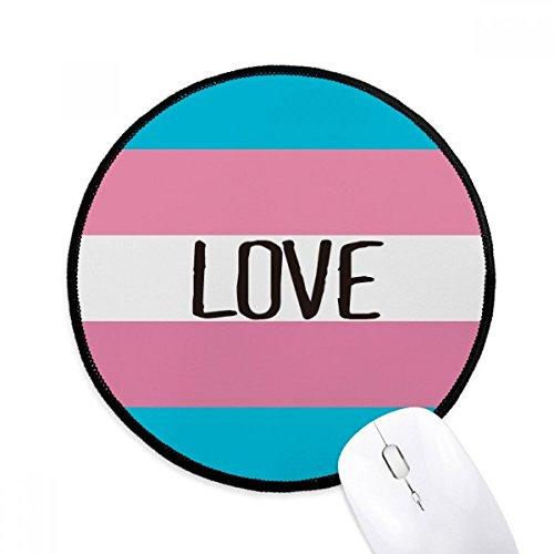 DIYthinker Amor Transgender LGTB Soporte redondo antideslizante tapetes de ratón Negro Titched Bordes Juego Oficina regalo