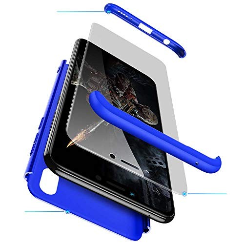 cmdkd Funda Compatible con Huawei Honor Play,Case Bumper 3 en 1 Estructura 360 Grados Integral para Ambas Caras Hard Skin Carcasa + Cristal Templado.Azúl