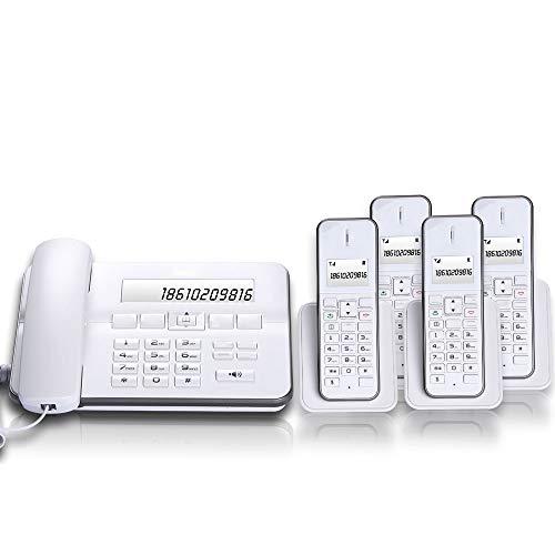Teléfono inalámbrico digital, maestro-esclavo (uno para cuatro), esclavos expandibles, teléfono fijo de la oficina en casa, 1 unidad principal, 4 unidades de extensión, falla de energía disponible