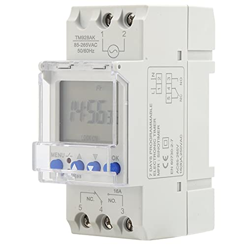 Interruptor de temporizador, 85-265 V 16A Interruptor de temporizador programable digital en carril DIN, Pantalla de retroiluminación LCD Interruptor de tiempo de relé electrónico programable 16A