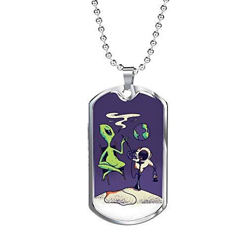 Express Your Love Gifts Alien OVNI - Collar con cachimba de acero inoxidable o oro de 18 quilates con cadena de 60,96 cm