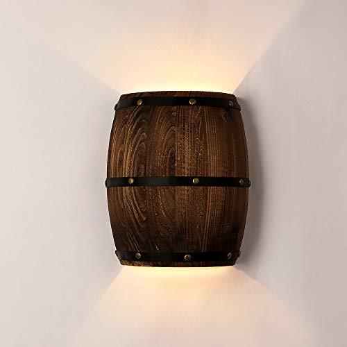 Newrays Antique 2 Tomacorrientes Wood Wine Barrel Aplique de pared Accesorio de...