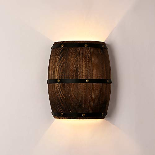 Newrays Antique 2 Punti Vendita Wood Wine Barrel Applique da parete Applique su e giù Lampade da parete per interno per area bar Steampunk Theme