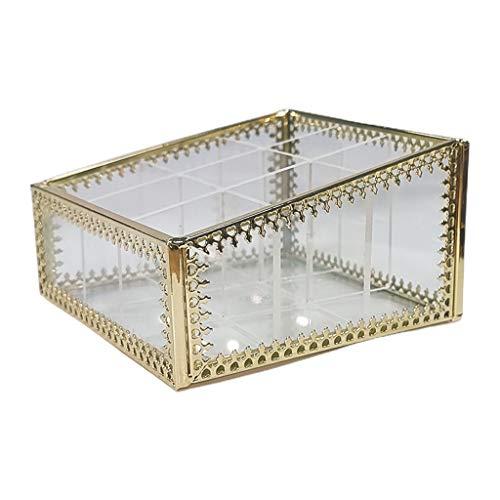 9 Slots Lippenstift Organizer Glas Messing Schmuck Display Aufbewahrungsbox Fall Vintage Transparent Schmuck Organizer