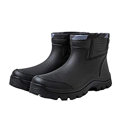 Gets Rain Boots for Mens Waterproof Light Rubber Ankle Boots for All Type of Weather (EU 41=US 8) Black