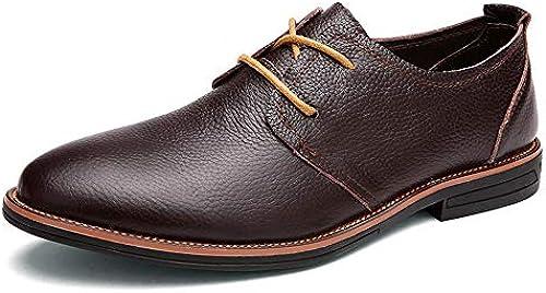 JIALUN-Schuhe Herrenmode Business Oxford Casual Klassisch Einfache Reine Farbe Niedrige Formelle Schuhe (Farbe   Dunkelbraun, Größe   39 EU)