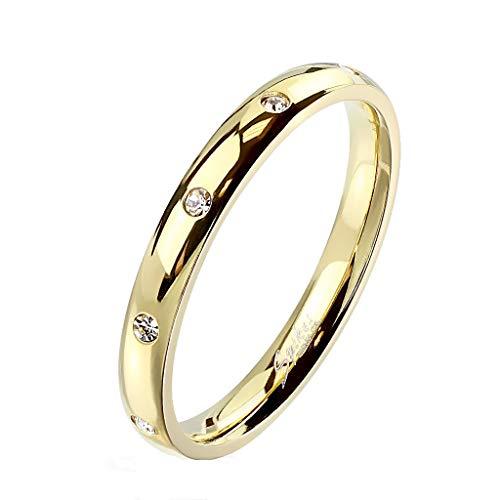 Paula & Fritz® Damen-Ring glänzend 3mm Zirkonia Silber Gelb-Gold Rosé-Gold Bunt Freundschafts-Ring Partner-Ring Edelstahl 316L R-M6822G_100