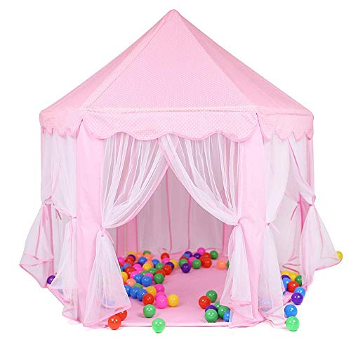 Girls Play Tent Hexagon Princess Castle House Palace Carpas, Deluxe Kids Princess Children Play Castle Tent, Garden Outdoor Indoor Playhouse, (Color : Pink)