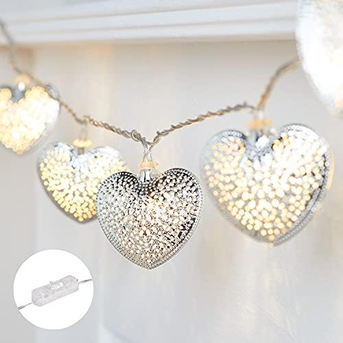 Lights4fun 20er LED silberne Herz Lichterkette mit Timer strombetrieben