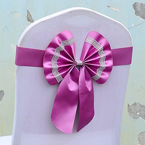 tggh Juego de fajas para silla de boda, cinturón de silla, sin flores, con lazo, ajustable, para celebración, boda, celebración, multicolor (color: violeta, número de piezas: 10 piezas)