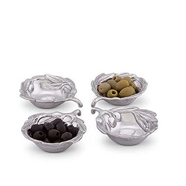 Arthur Court Sand-Cast Aluminum, Set of 4 Olive Pattern Sauce Bowls