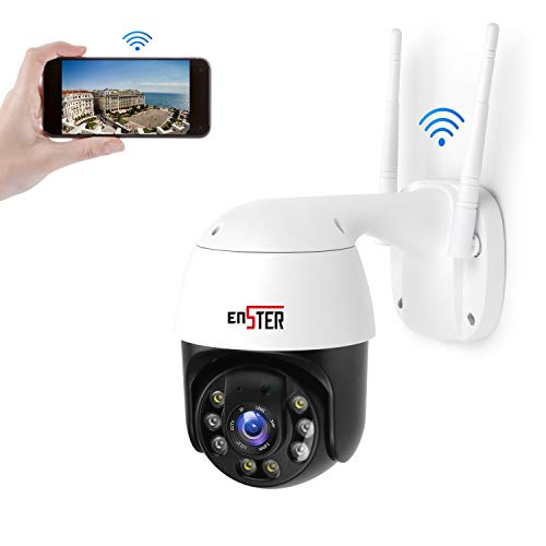 PTZ Pan Tilt 4 x Zoom WiFi Security Camera Outdoor,Light Color Night Vision Metal 24/7 Live Home Security Cam,ENSTER 1080P Waterproof 360 View IP Surveillance with Onvif,Motion Detection,Two-Way Audio