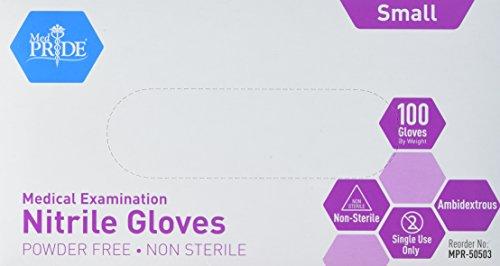 MedPride Nitrile Exam Gloves, Powder-Free, Small, Box/100