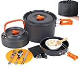 Camp Cookware Set, MEETSUN 17 Pcs Camping Cookware 3L Camping Pot 4 Person High Capacity Camping Gear and Equipment with Camping Coffee Pot Chopping Board Folding Knife and Fork Set for Outdoor Picnic