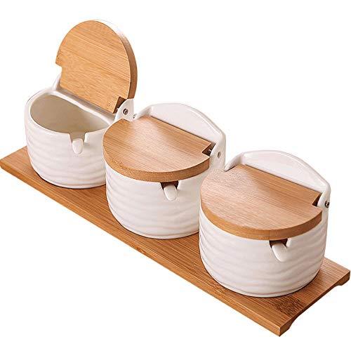 N /A YYEN Gewürzglas Dreiteiliges Keramikgewürzglas Kreative Weiße Gewürzdose Bambus Clamshell Gewürzflasche Zuckerdose Salzstreuer