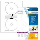 Herma 8624 - Etiquetas para CD y DVD (10 hojas, 20 unidades), blanco