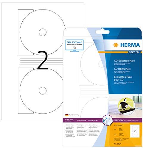 HERMA 8624 CD-/DVD-Etiketten inkl. Positionierhilfe DIN A4 blickdicht (Ø 116 mm MAXI, 10 Blatt, Papier, matt) selbstklebend, bedruckbar, permanent haftende CD-Aufkleber, 20 Klebeetiketten, weiß