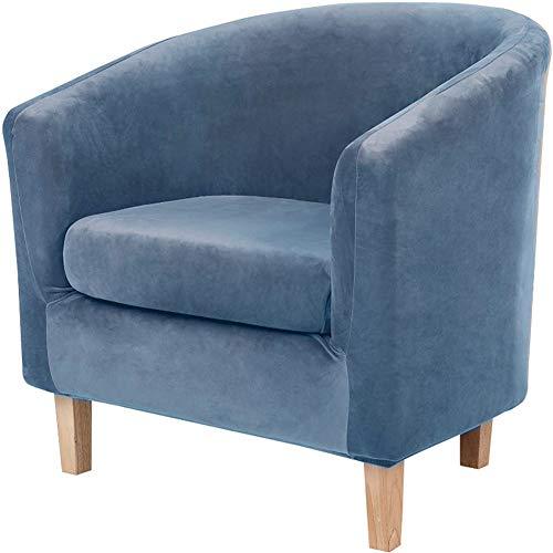 2 Teilige Samt Sesselschoner Sesselüberwurf Sesselhusse Mit Kissenbezug, Sesselbezug Elastisch Sesselüberzug Für Clubsessel (Blau,1 Stücke)